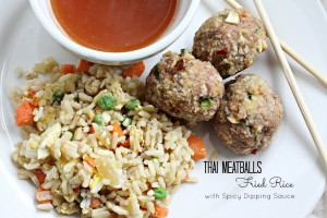 Thai Meatballs, Fried Rice & Spicy Sauce for Dipping.