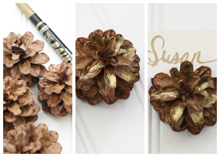 10 Minute Decorating| Pinecone Place Card Holders | Love of Home