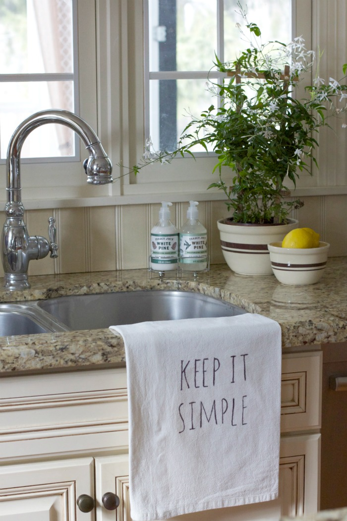Hand Lettered Kitchen Towel 10 Minute Decorating Ideas | Love of Home
