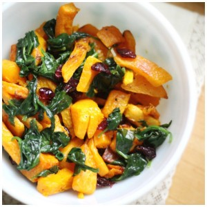 Roasted Squash, Spinach and Cranberries