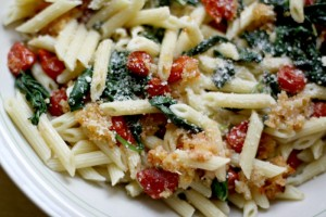Delicious Vegetarian Pasta With Roasted Tomatoes and Spinach