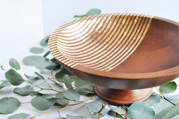 gold foil striped bowl