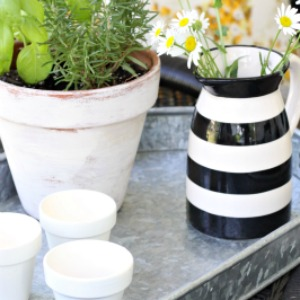 Pots, votives, summer, decor